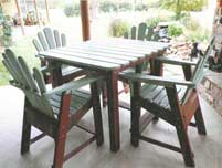 Patio table with deck chairs